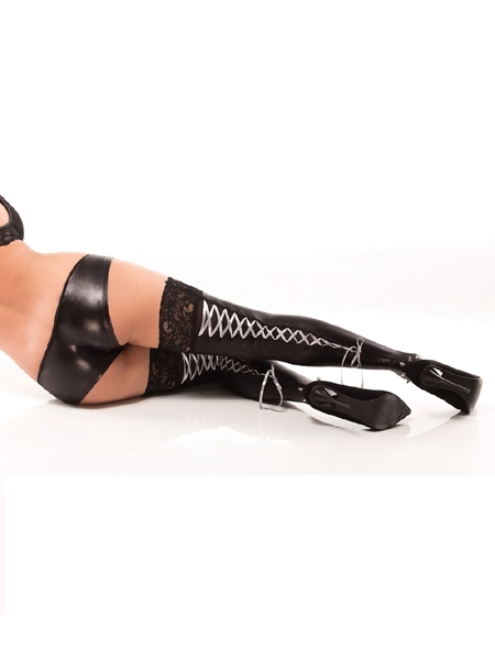 Wetlook lace ups stockings by Darque