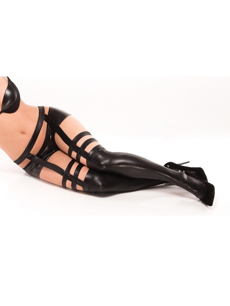 Wet look strappy stockings by Darque