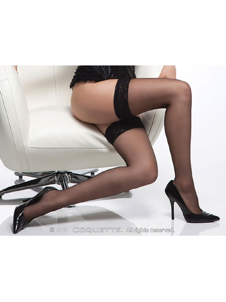 Sheer thigh high stockings with lace top from Coquette