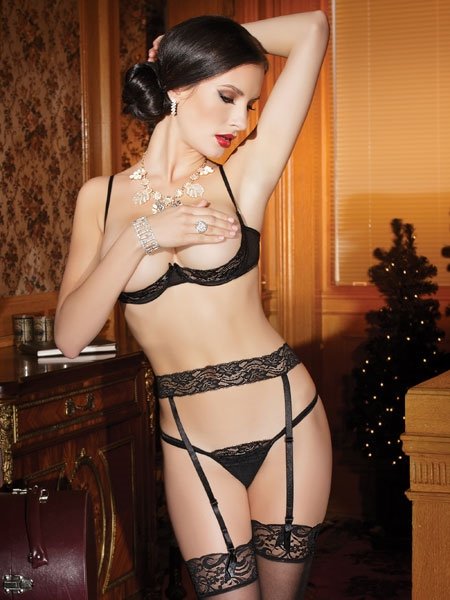Mesh Bra, Garter Belt and G-string with Stretch Lace by Coquette
