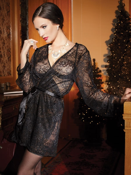 Stretch Lace Robe in Black by Coquette