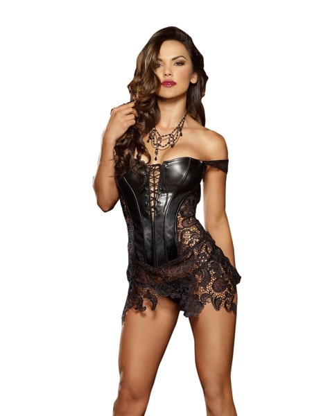 Faux Leather and venice Lace Corset by Dreamgirl
