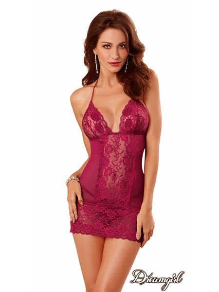 Chemise with embroidered lace roses by Dreamgirl