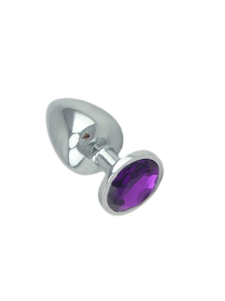 Purple Jeweled Large Butt Plug Solid Aluminum