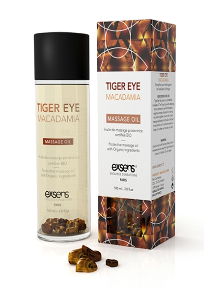 Tiger Eye Macadamia Organic Massage Oil with Stones by Exsens