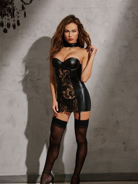 Faux-leather look Chemise by Dreamgirl
