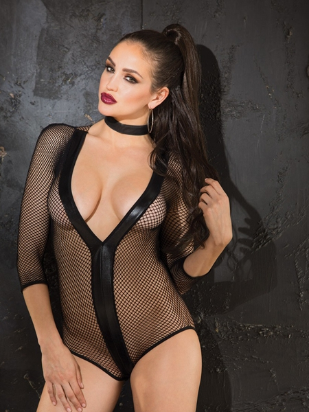 Black Fishnet Teddy of Shirley of Hollywood