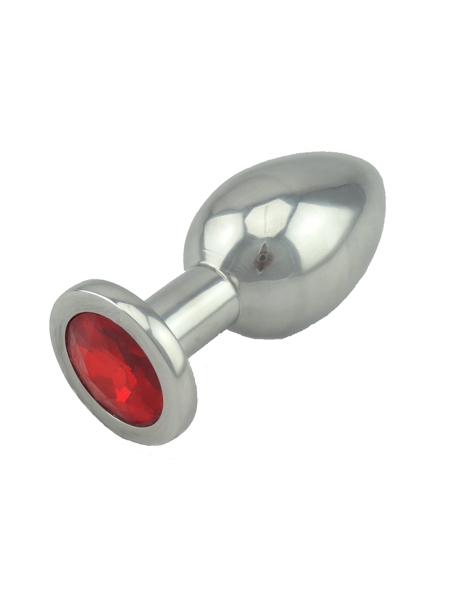 Red Jeweled Large Butt Plug Solid Aluminum