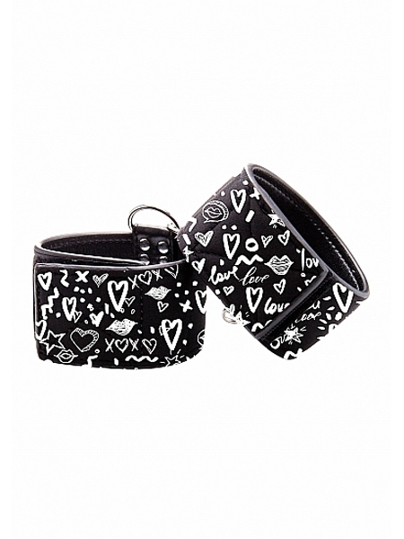 Adjustable printed leather wrist cuffs by Ouch!