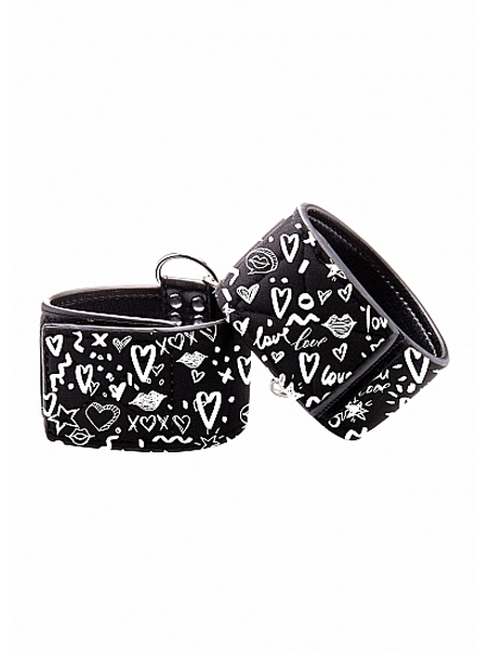 Adjustable printed leather ankle cuffs by Ouch!